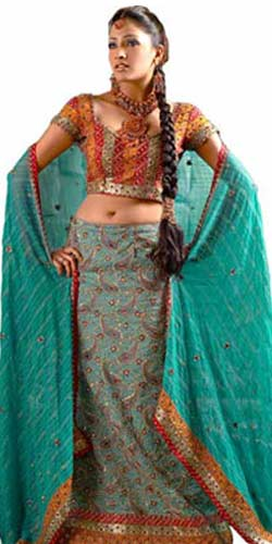 Fascinating Hand-embroidered Green Jaquard Lehenga