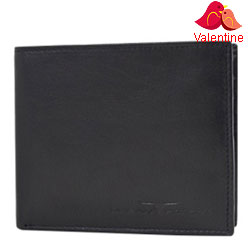 Exquisite Urban Forest Gents Wallet in Black Made of Genuine Leather