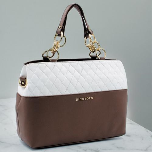 Stunning White N Brown Color Womens Vanity Bag