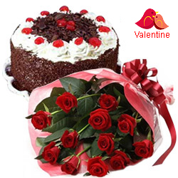 MidNight Delivery ::12 Red Rose Bunch with  Black Forest Cake