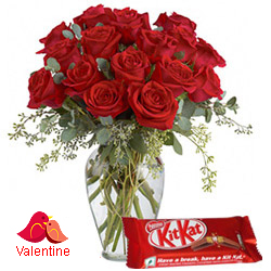 MidNight Delivery ::Exclusive  Dutch Red    Roses  in Vase with free Cadburys Chocolate