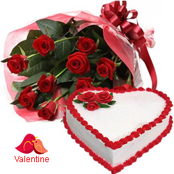 <u><font color=#008000> MidNight Delivery : </FONT></u>:Exclusive  Dutch Red    Roses  Bouquet with Heart Shaped Cake