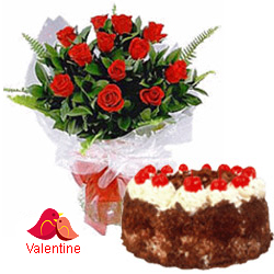 MidNight Delivery ::12 Exclusive  Dutch Red    Roses  with Black Forest cake 1 Kg from 5 star Hotel Bakery <br> (Limited Cities)