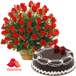 MidNight Delivery ::50 Dutch Red Roses Basket with Black Forest Cake.