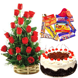 MidNight Delivery ::18 Dutch Red Roses Bouquet with 1 Lbs. Black Forest Cake and 1 Cadbury's Celebration Pack