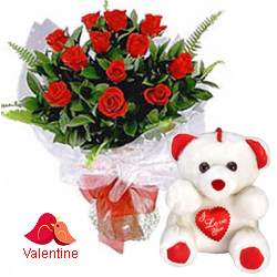 MidNight Delivery ::12 Exclusive  Dutch Red    Roses  Bunch with Cute Love Teddy Bear
