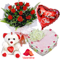 MidNight Delivery ::12 Exclusive  Dutch Red    Roses  Bunch with Cute Teddy Bear, Love Cake 1 Lb and  Heart Shaped Balloons