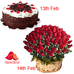 MidNight Delivery ::Serenade Option  :13th Feb : 1/2 Black Forest Cake 14th Feb : 50  Dutch Red Roses Basket