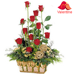 MidNight Delivery ::15 Exclusive  Dutch Red    Roses  in Cane Basket