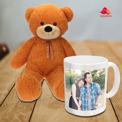 Stunning Love Teddy (36 in) with a Personalized Coffee Mug