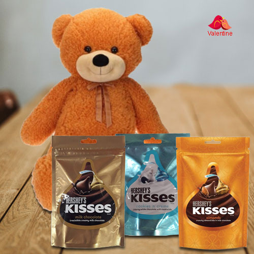 Fascinating Big Teddy with Hersheys Kisses Chocolates