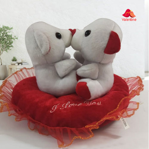 Magnificent Kissing n Singing Teddy in a Heart Shape Cushion