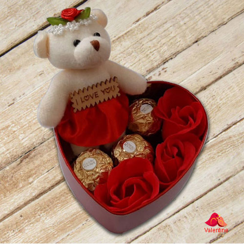 Exquisite Heart Shape Box of Teddy, Roses and Ferrero Rocher