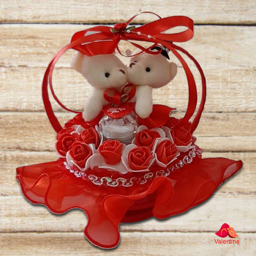 Glamorous Dancing Musical Couple Teddy with Roses