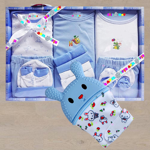 Exclusive Wishkey Silicone Teething Mitten N Cotton Clothes Set