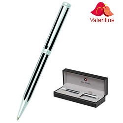 Sheaffer Jet Black Striped Chrome Plated Trim Ball point Pen for Your Friends