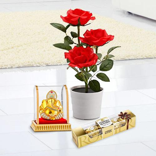 Flowering Plant Gift with Ganesh Idol N Sweet Delight