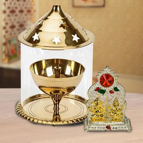 Attractive Akhand Diya with Borosilicate Glass N Ganesh Laxmi Mandap<br>