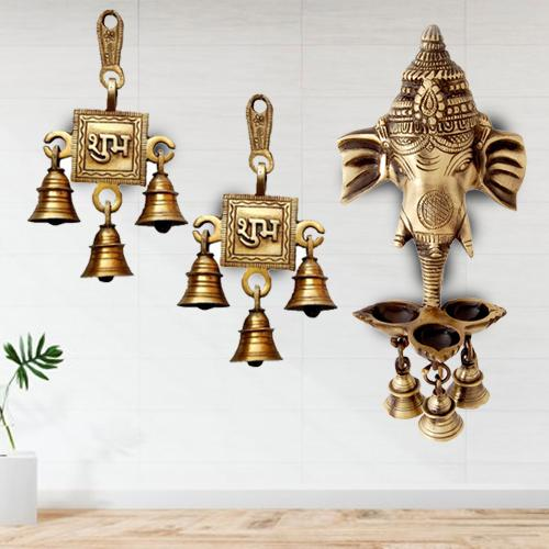 Marvelous Ganesha Wall Hanging Deepak with Bells N Shubh Labh Hanging Bells