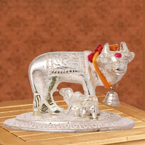 Wonderful Kamdhenu Cow N Calf Idol for Pooja