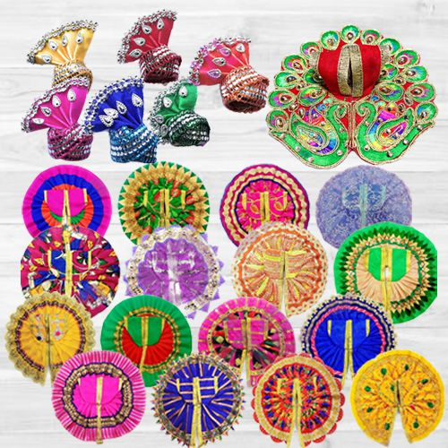 Exclusive 6 Pcs Ladoo Gopal Dress Set with 6 Pcs Pagdi