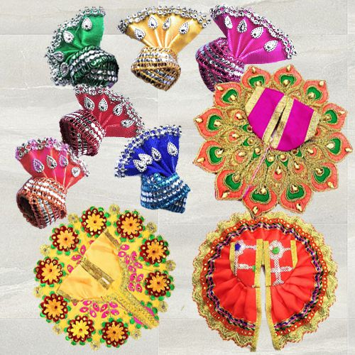 Marvelous 3 Pcs Poshak Set with 6 Pcs Pagdi for Laddu Gopal<br><br>