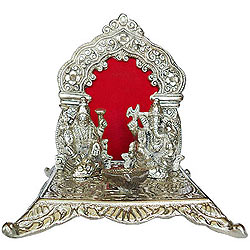 Wonderful Silver Plated Laxmi Ganesh in Mandap and Diya