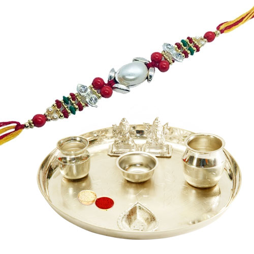 Classy Rakhi Special Gift of Silver Plated Pooja Thali with free Rakhi, Roli Tilak and Chawal for your Dear Brother