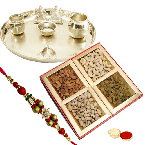 Traditional Rakhi Special Gift of Silver Plated Thali and Seasonal Dry Fruits with Free Rakhi, Roli Tilak and Chawal