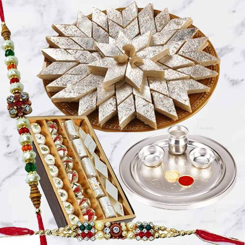 Classy Gold Plated Thali with Haldiram Kaju Katli N Dry Fruits along with 2 Free Rakhi, Roli Tilak and Chawal on the Occasion of Raksha Bandhan