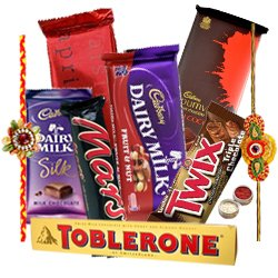 Splendid Chocolate Gift Hamper with Gorgeous Floral Rakhi