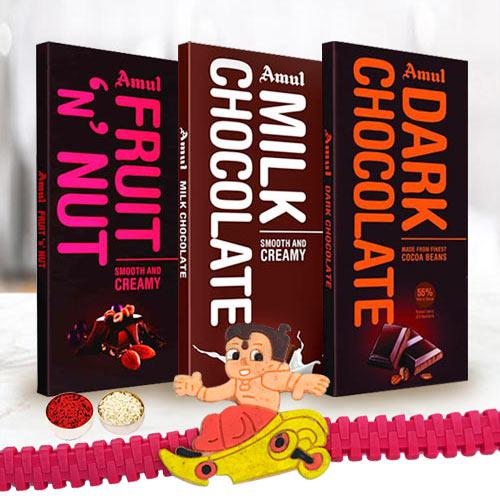 Amul Triple Chocolate Bar with Kids Rakhi