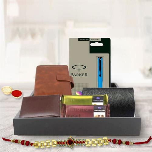 Exclusive Mens Gift Hamper with Golden Bracelet Rakhi