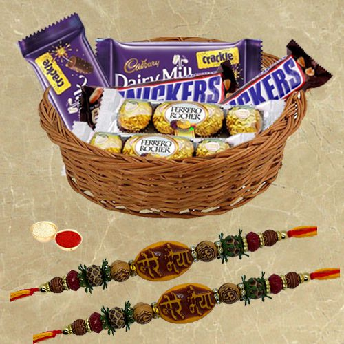 Assorted Chocolates with Mere Bhaiya Rakhi Pair