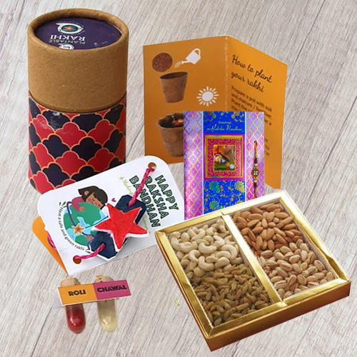 Plantable Rakhi in Rakhi Solo Box with Dry Fruits