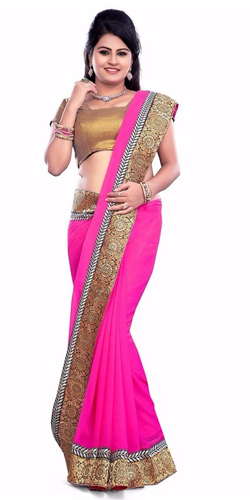 Enticing Georgette Printed Saree in Pink Colour