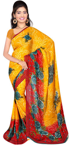 Sizzling Georgette Printed Saree from Suredeal