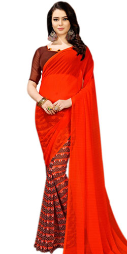 Glamorous Faux Chiffon Latest Party Wear Saree for Ladies
