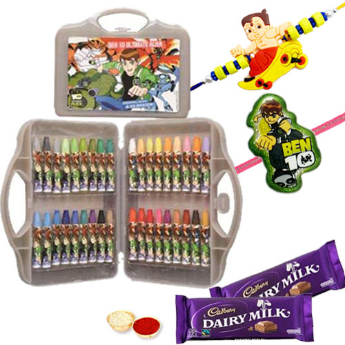Beautifying Raksha Bandhan Special Thirty Six Piece Coloring Gift Box from Ben 10 with Rakhi, Roli Tilak N Chawal