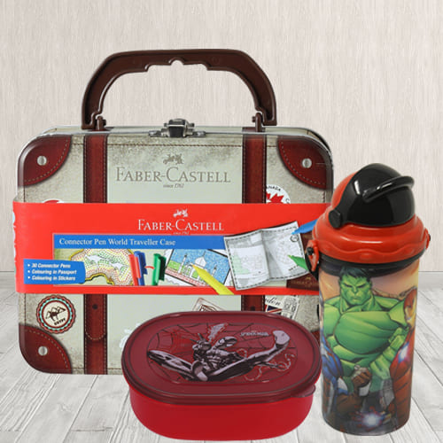 Exciting Water Bottle, Lunch Box N Colour Set Combo