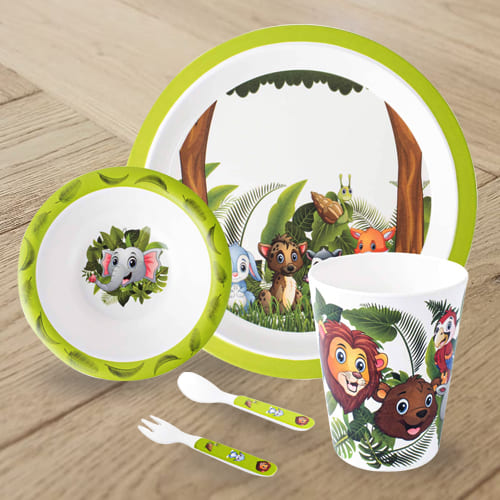 Marvelous Jungle Book Design Melamine Kids Set