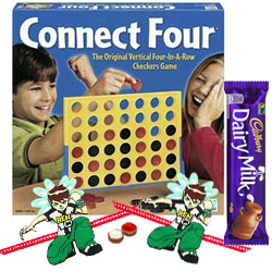 Connect 4 � A Classic game for All Ages with 2 Ben 10 Rakhi with 1 Cadbury Dairy Milk Chocolate Bar (13 gm) and Roli Tilak Chawal
