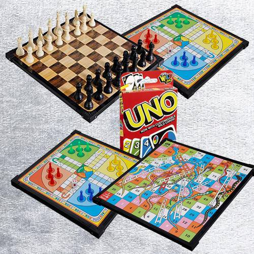 Marvelous 2-in-1 Wooden Board Game with Mattel Uno Card Game