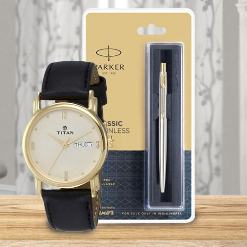 Exclusive Titan Watch and Parker Pen for Dad