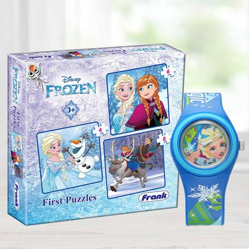 Exclusive Zoop Cartoon Analog Watch n Jigsaw Puzzles Set